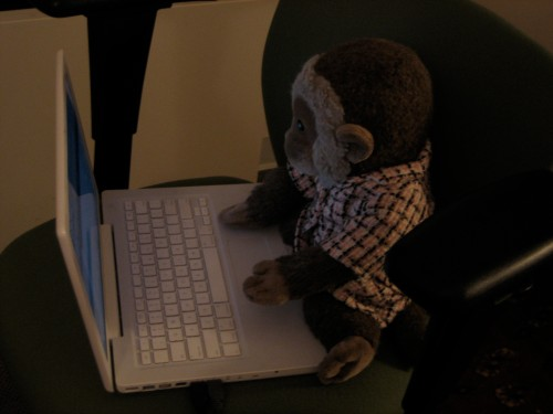 Jacko blogging in his Chanel inspired suit