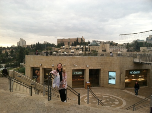 This photo was taken on a different day at the back of the Mamilla Mall, but you can see the King David in the background.