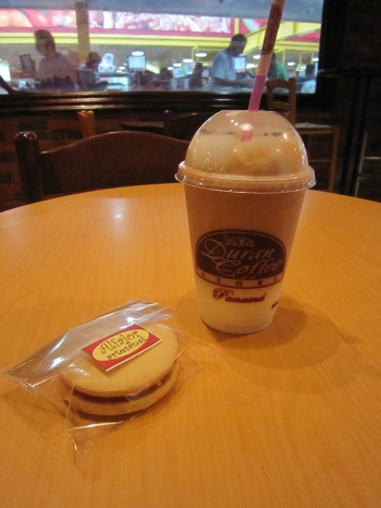 Alfajor and iced coffee